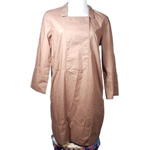 COS Camel Brown 3/4 Sleeve A Line Dress w/ Pockets